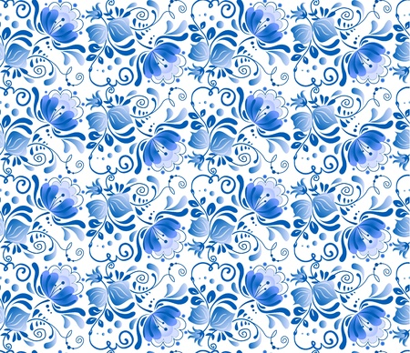 symmetric: Russian national floral pattern in gzhel style