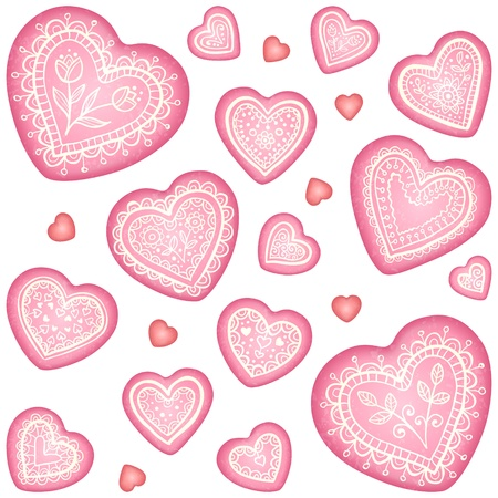 Ornate vector decorative hearts set Vector