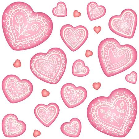 spice cake: Ornate vector decorative hearts set