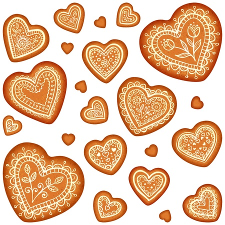 gingerbread heart: Ornate vector traditional gingerbread hearts set