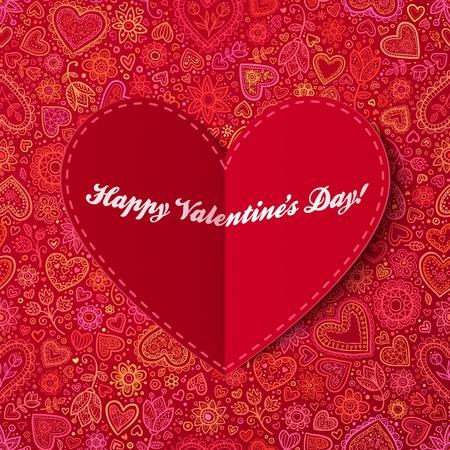 dia: Corazón rojo de la tarjeta de papel con la muestra del día de San Valentín Foto de archivo