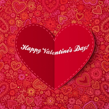 tag: Rote Herzen aus Papier Valentines day card with sign