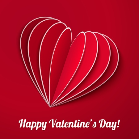 Red heart from paper Valentines day card with sign Stock Photo - 16853092