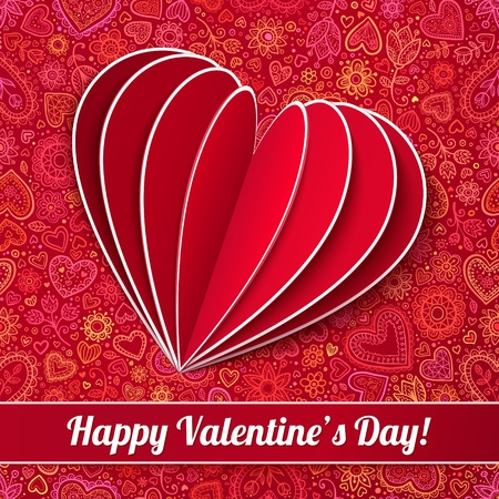 Red heart from paper Valentines day card on ornate background Stock Photo
