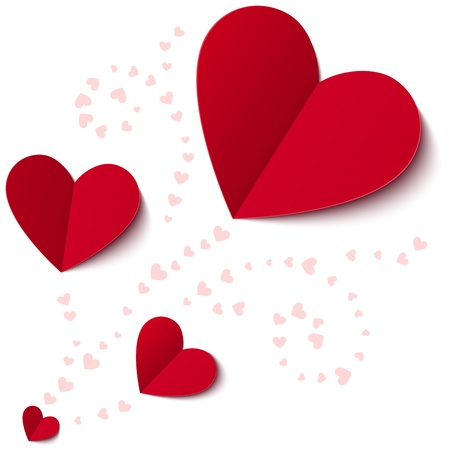 Rood hart van papier Valentines dag kaart op wit