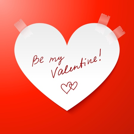 Heart made from paper Valentines day card with sign Stock Photo - 16921945