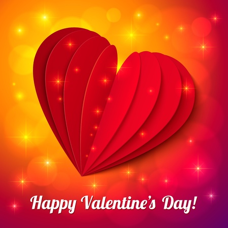 Red heart from paper Valentines day card with sign and lights Stock Vector - 16921952