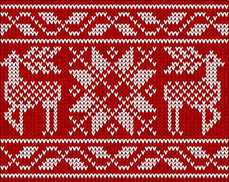 close knit: Christmas background with embroidery  Deers  Illustration