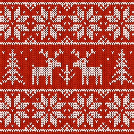 close knit: Red  sweater with deer  seamless pattern