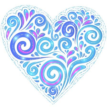 gzhel: Blue vector shining heart in Gzhel style on dark-blue background