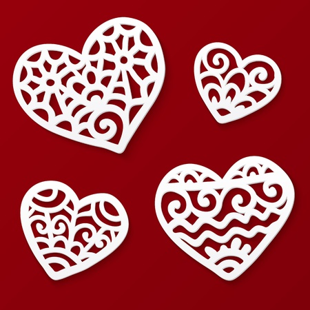 Vector cut out paper white lacy hearts on dark red background  Vector