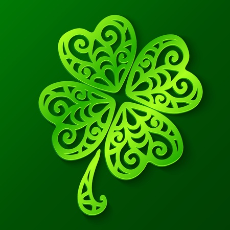 Ornate green cut out paper clover, vector illustration