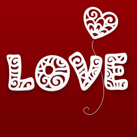 Vector cut out paper white lacy love sign with heart Vector