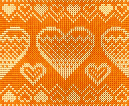 Valentines day orange knitted sweater seamless pattern Stock Vector - 16991756