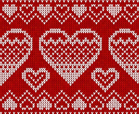 Valentines day red knitted sweater vector seamless pattern Vector