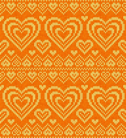 Valentines day orange knitted sweater seamless pattern photo