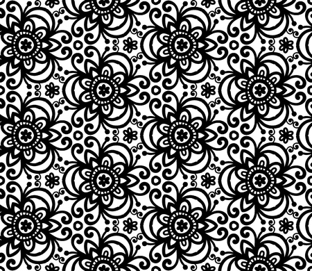 white star line: Black abstract ornate flowers seamless pattern