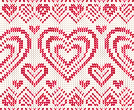 Valentines day white and red knitted seamless pattern Stock Photo - 16991746