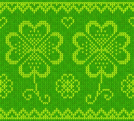 Patrick s day green knitted clovers seamless pattern Vector