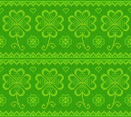 wool texture: Patrick s day green knitted clovers seamless pattern Illustration
