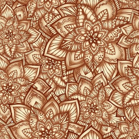 coffee coffee plant: Vintage beige floral seamless pattern with doodle flowers Illustration
