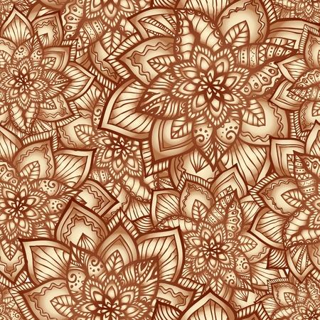 planta de cafe: Vintage patrón floral sin fisuras de color beige con flores del doodle Vectores