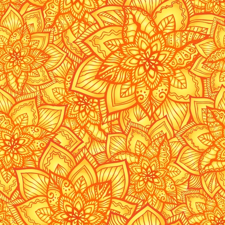 Bright orange floral seamless pattern with doodle flowers Stock Vector - 17050838