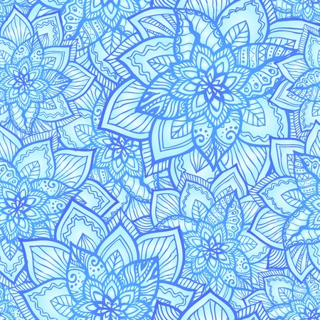 Bright blue floral seamless pattern with doodle flowers Stock Vector - 17050837