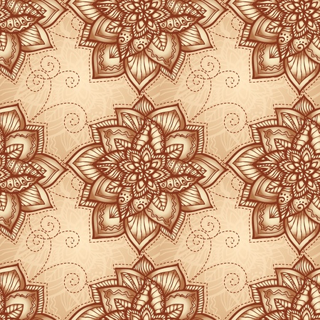Vintage beige floral seamless pattern with doodle flowers Stock Vector - 17050841