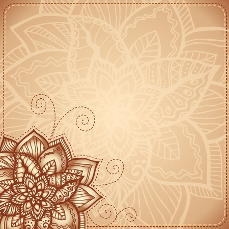 Vintage beige floral background with doodle flowers Vector
