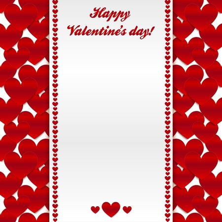 Red valentines day greeting card with hearts background