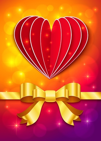 Valentines day greeting card with heart and golden ribbon Stock Vector - 17158785
