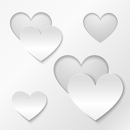 Hearts from cut out paper Valentines day greeting card Stock Photo - 17158779