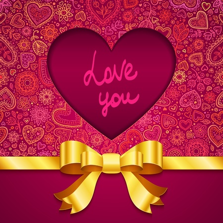 love image: Valentines day greeting card with heart and golden ribbon Illustration
