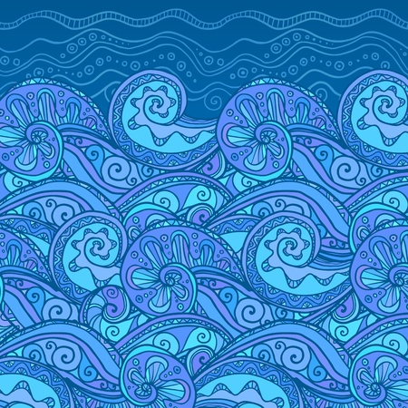 Vector ornate doodle lacy sea background Vector