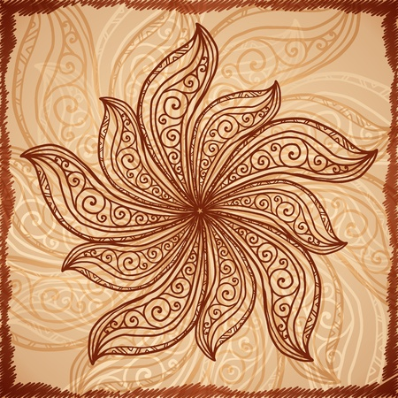 Vintage beige abstract background with doodle circle photo