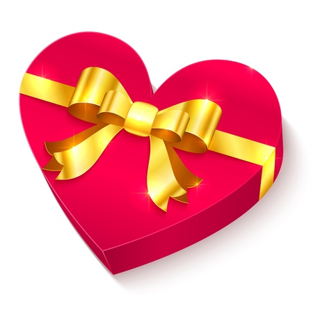 Valentines day 3D gift box  heart with golden bow and ribbon Stock Vector - 17158804