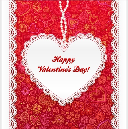 Vector Valentine s day lacy heart card on ornate background Vector