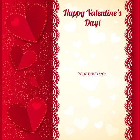 Vector Valentine s day ornate greeting card with hearts