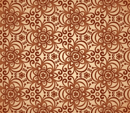 Vintage beige abstract ornate flowers seamless pattern Vector
