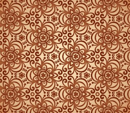 triskele: Vintage beige abstract ornate flowers seamless pattern Illustration