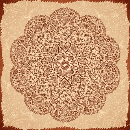 henna pattern: Vintage beige abstract background with doodle circle Illustration