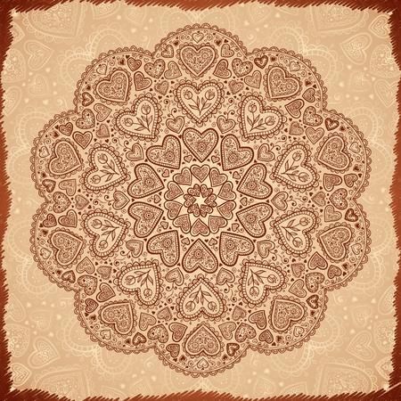 henna design: Vintage fondo abstracto con el c�rculo de color beige garabato