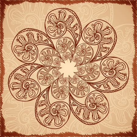 Vintage beige abstract background with doodle circle Vector