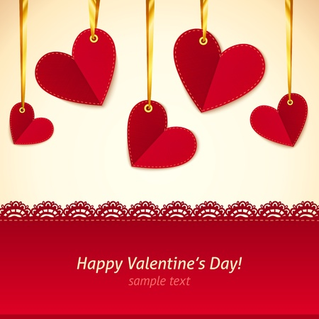 Vector Valentine s day greeting card with hearts on gold ribbons photo