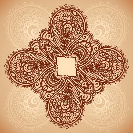 Vintage beige floral background with doodle flowers photo