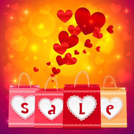 Valentines day vector shopping bags shining greeting card Stock Vector - 17158824