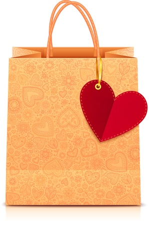 Ornate paper shopping bag with heart label on golden ribbon Vector