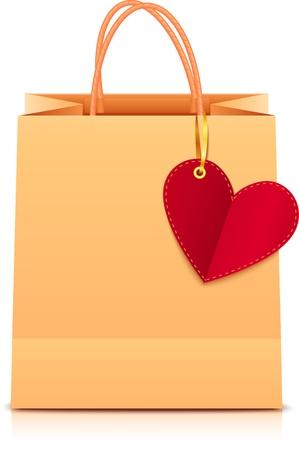 Vector shopping bag di carta con etichetta cuore su nastro dorato