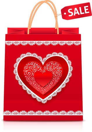 Valentines day red paper shopping bag with sale label Vector